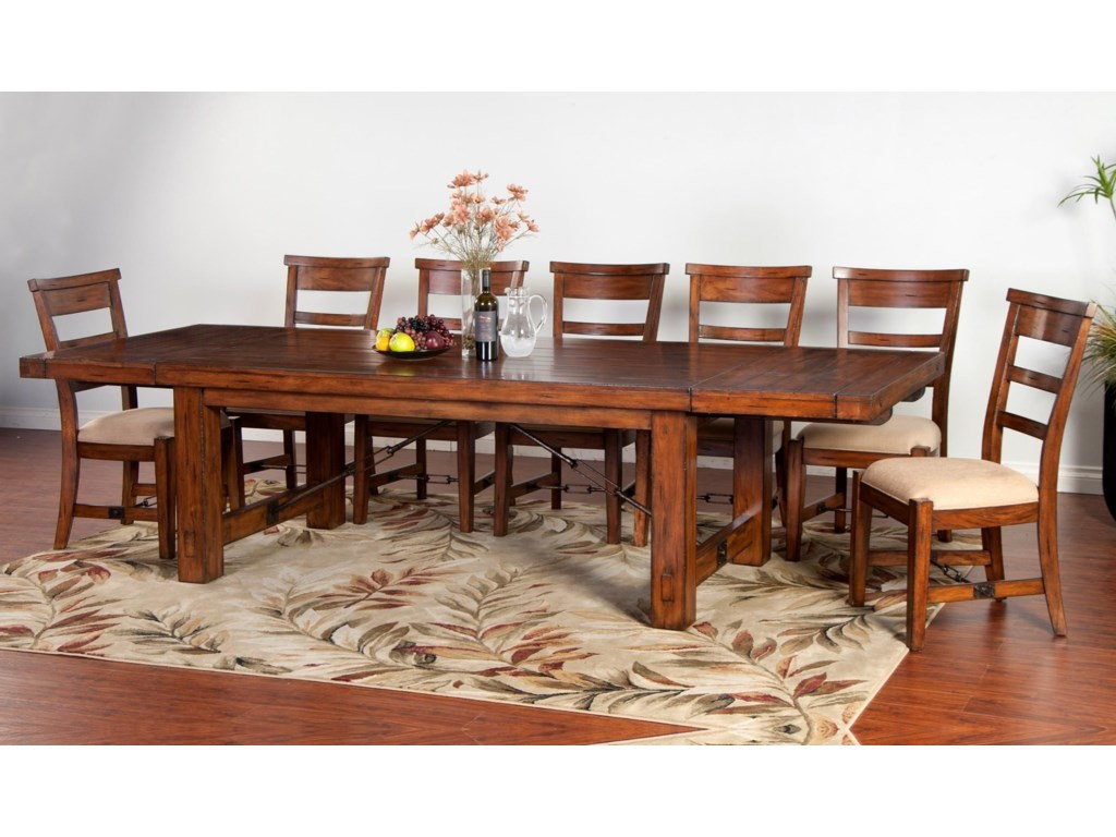 Sunny Designs Tuscany Distressed Mahogany 8-Piece Extension Table Set | Conlin