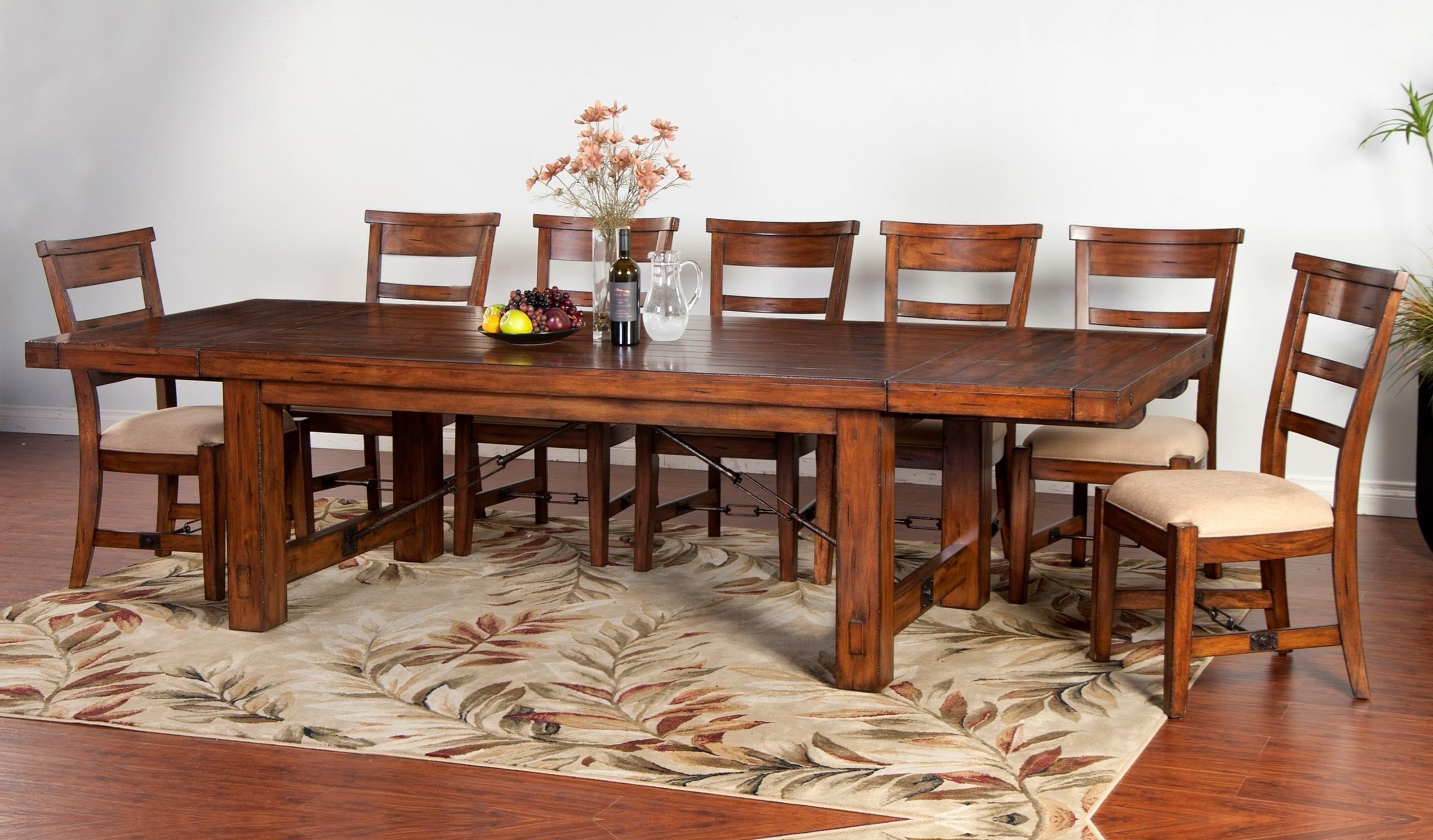 Tuscany Distressed Mahogany 8 Piece Extension Table Set | Ruby Gordon Home  | Dining 7 (or More) Piece Sets