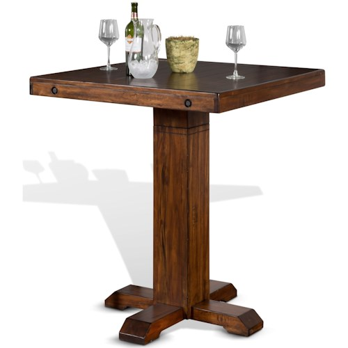Sunny Designs Tuscany Adjustable Height Pub Table With Distressed