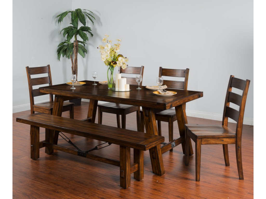 Sunny Designs Tuscany6-Piece Extension Table Set with Bench