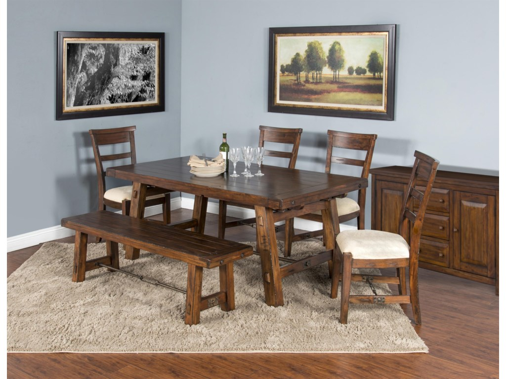 Sunny Designs Tuscany6 Piece Table / Chair Set and Bench