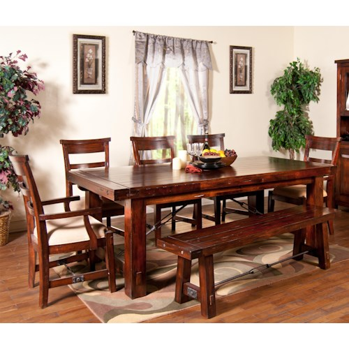Sunny Designs Vineyard 7-Piece Extension Table with Chairs and Bench Set