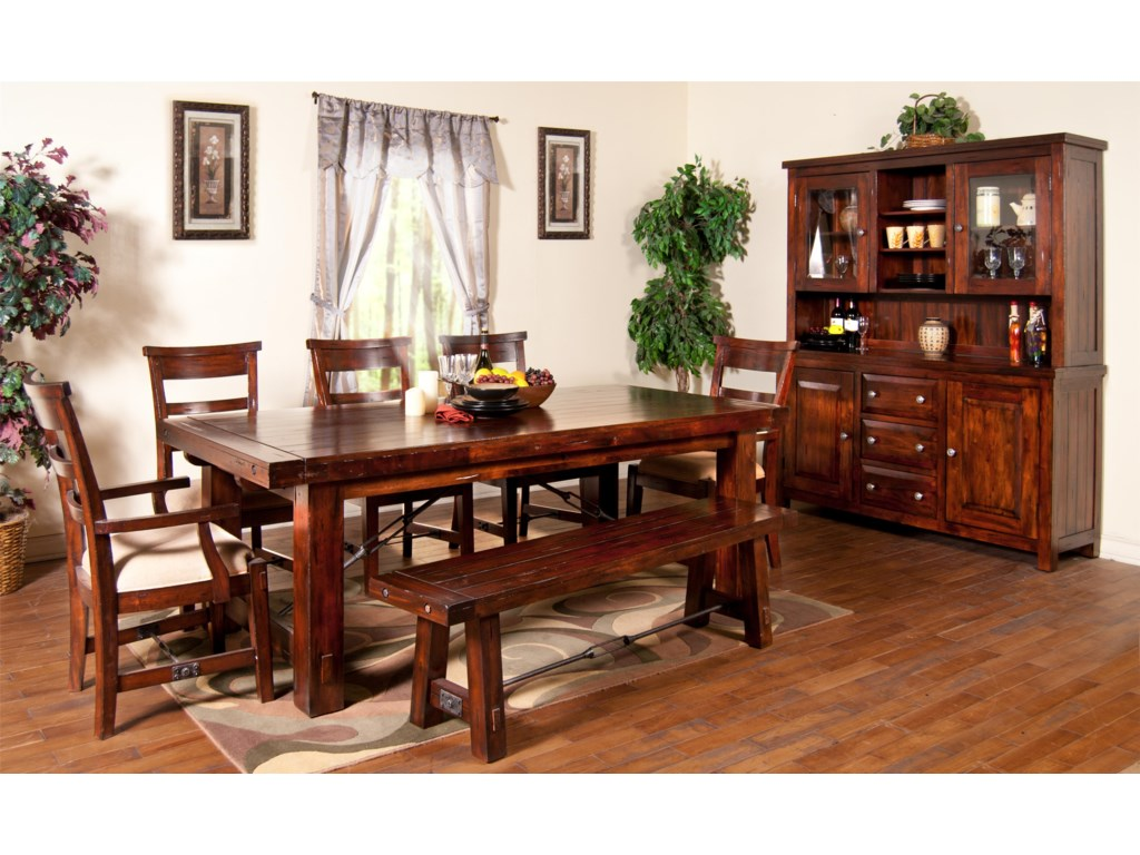 Shown with Arm Chairs, Side Chairs, Bench, and China Cabinet