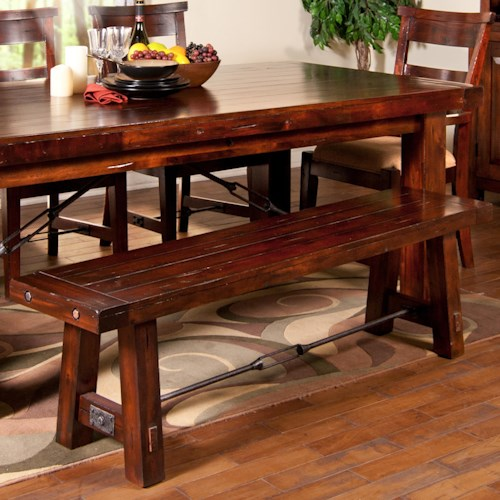 Sunny Designs Vineyard Dining Bench With Wood Seat And