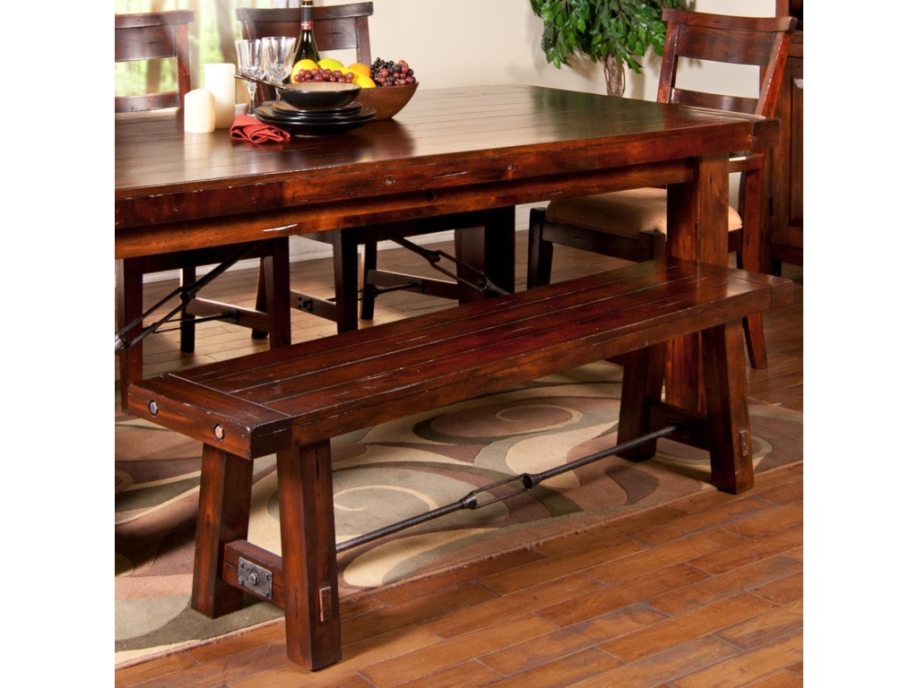 Sunny Designs Vineyard 1615rm Dining Bench With Wood Seat And Metal