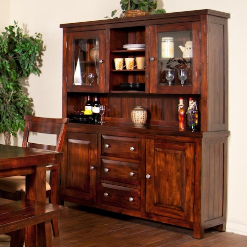 Sunny designs vineyard 2 piece china cabinet with glass for Designs of dining room cabinets