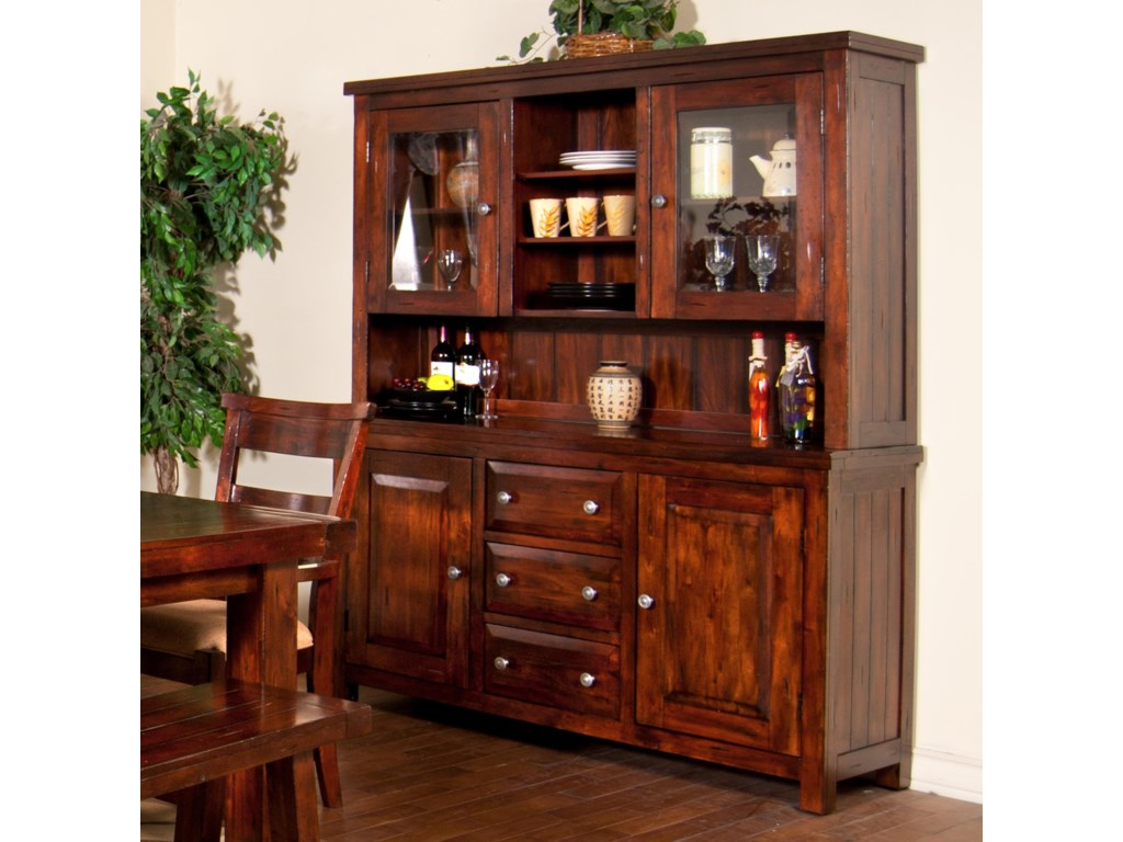 Sunny Designs Vineyard 2428RM 2 Piece China Cabinet With Glass Hutch