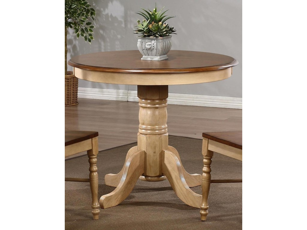 Brookline 36 Round Dining Table And Chair Set In Oak 3 Piece