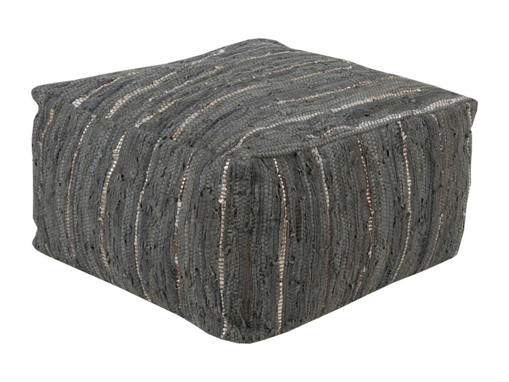 Surya Anthracite24 x 24 x 13 Cube Pouf