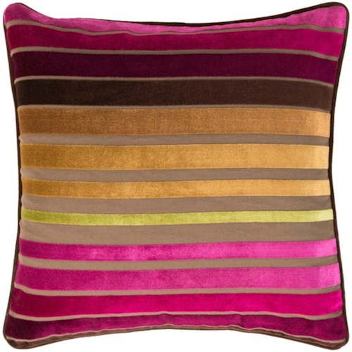 Surya Velvet Stripe 22 x 22 x 0.25 Pillow Cover
