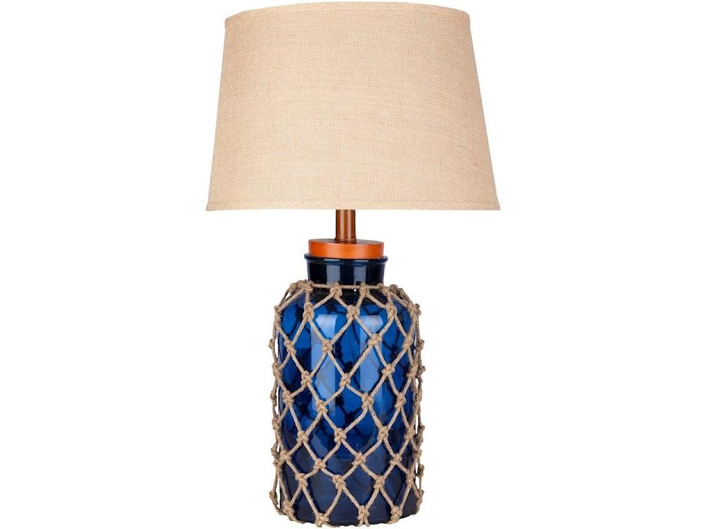 9596 AmalfiGlass And Jute Coastal Table Lamp