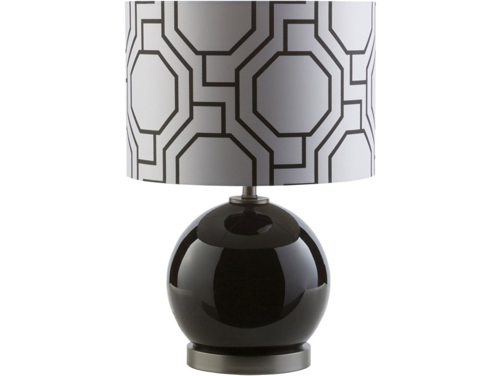 Surya BowenSolid Black Modern Table Lamp