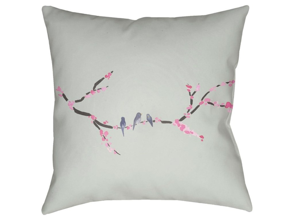 Surya Cherry Blossoms18 x 18 x 4 Polyester Throw Pillow