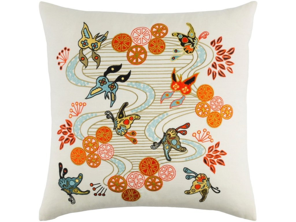 Surya Chinese River22 x 22 x 5 Down Throw Pillow