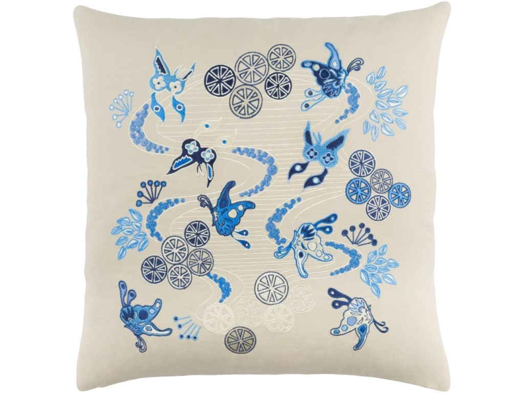 Surya Chinese River22 x 22 x 5 Down Throw Pillow