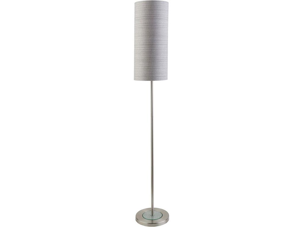 Surya Kyoto Kyt150 Flr Brushed Nickel Modern Floor Lamp Thornton Furniture Floor Lamps