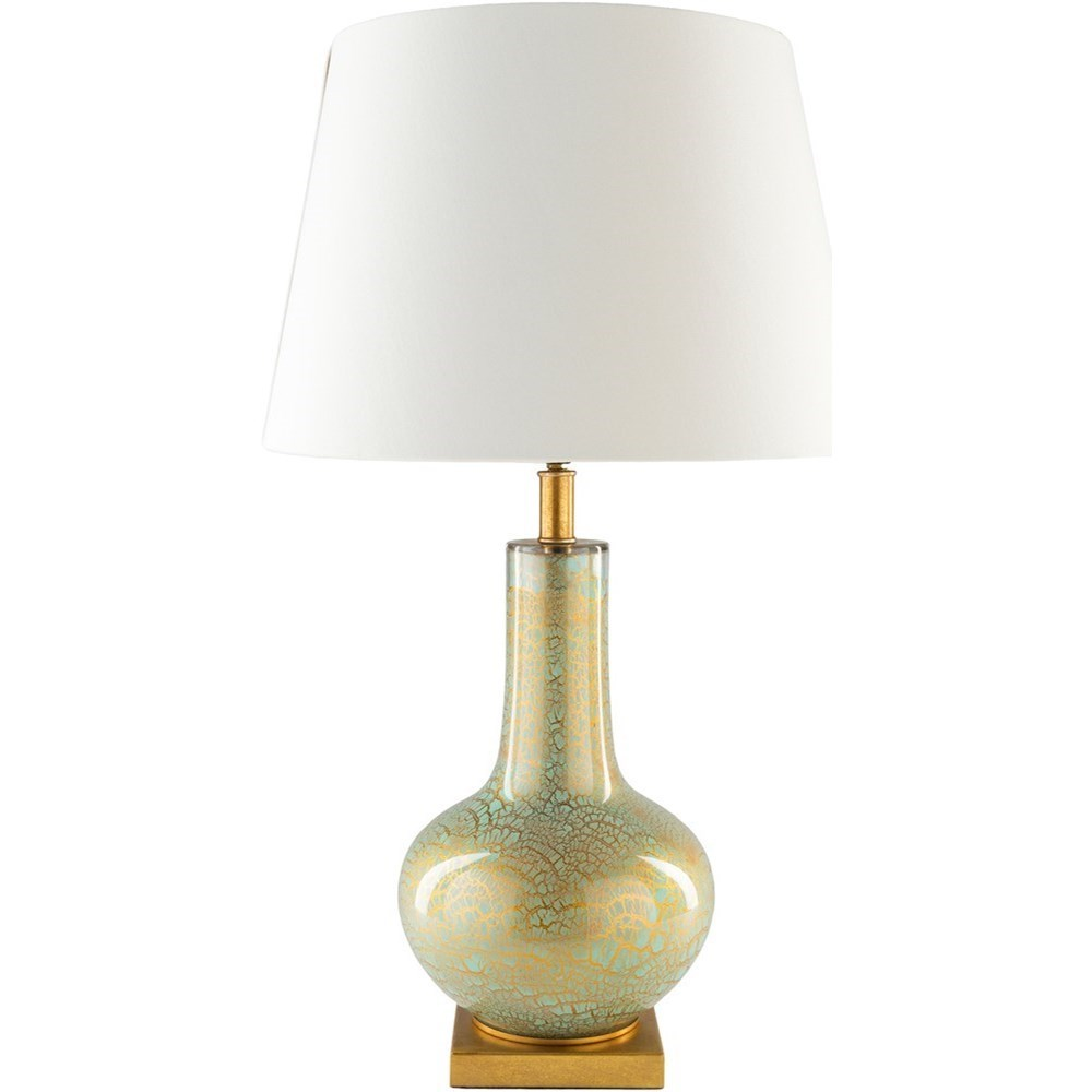 Surya Longo Spa Blue With Gold Foil Rustic Table Lamp Adcock
