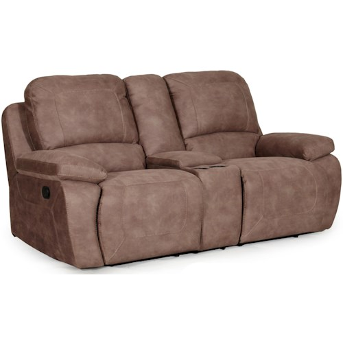 Synergy Home Furnishings 1060 Collection Casual Power Lay Flat Reclining Love Seat with Storage Console