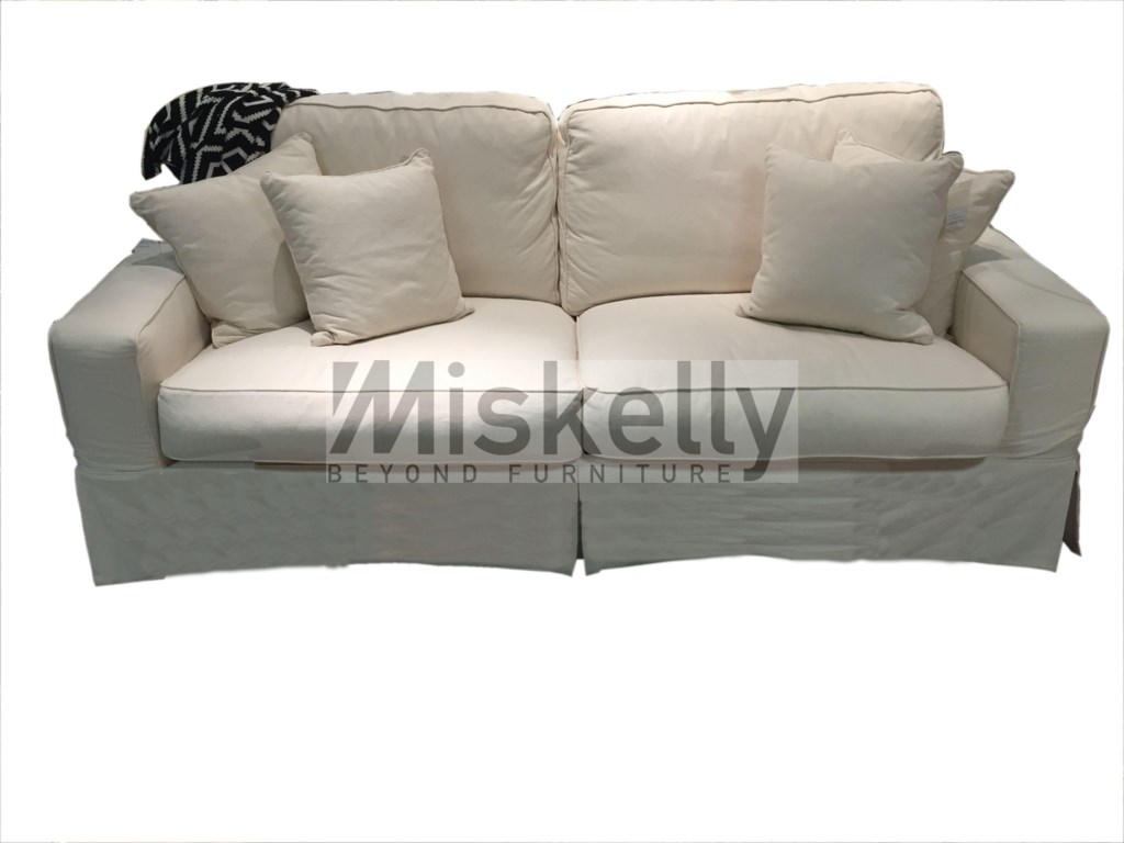 Synergy home furnishings montague cream eclectic slipcover sofa