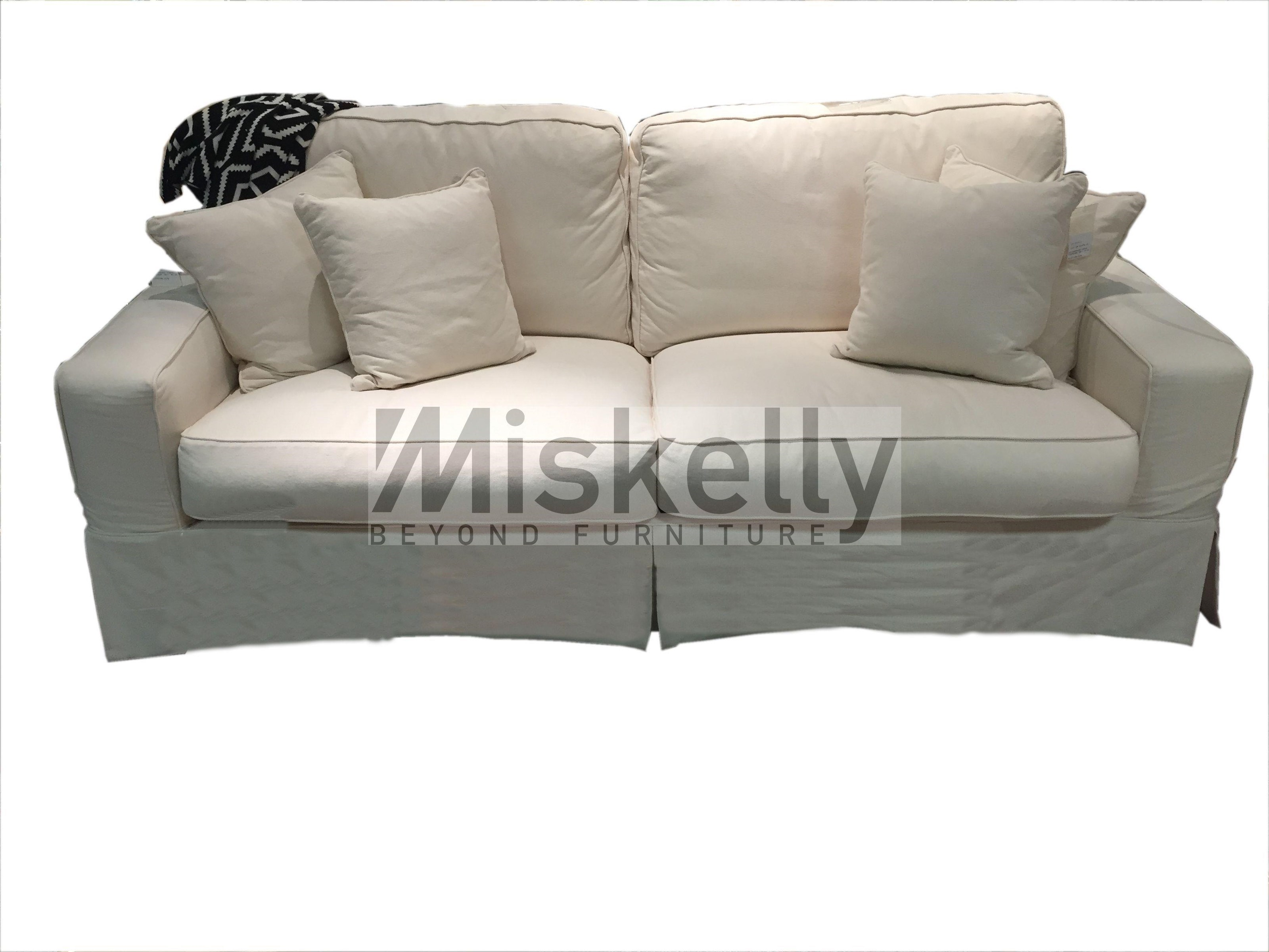 Gentil Synergy Home Furnishings Montague Cream Eclectic Slipcover Sofa