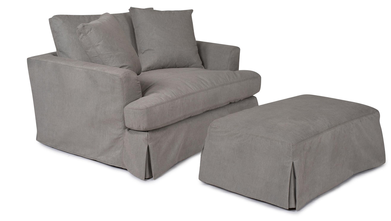 Synergy Home Furnishings 1300 Slipcover Chair And Ottoman Set