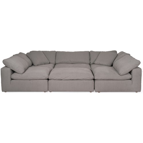 Synergy Home Furnishings 1389 Contemporary Modular Sectional with Ottoman