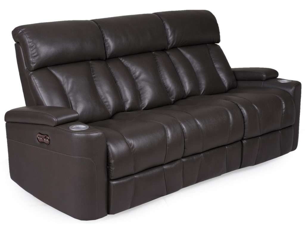 Builtwell 1637Power Rec. Sofa w/ Pwr Headrest & Drop Table