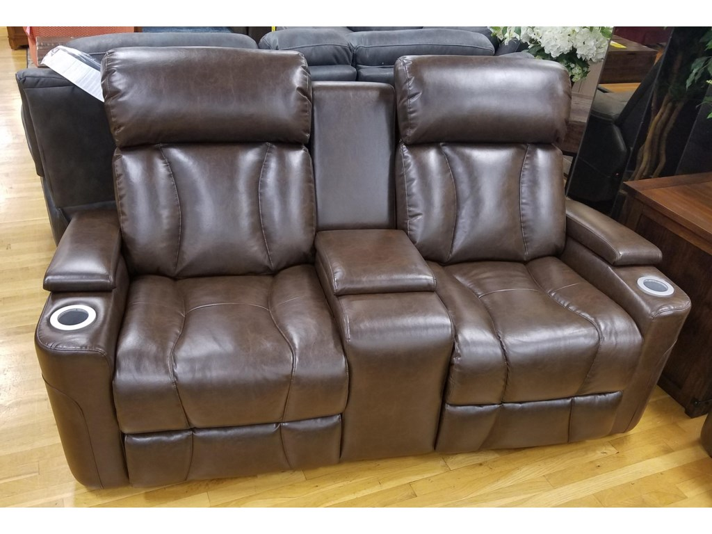Synergy Home Furnishings 1637Pwr Rec. Loveseat w/ Pwr Headrest & Console