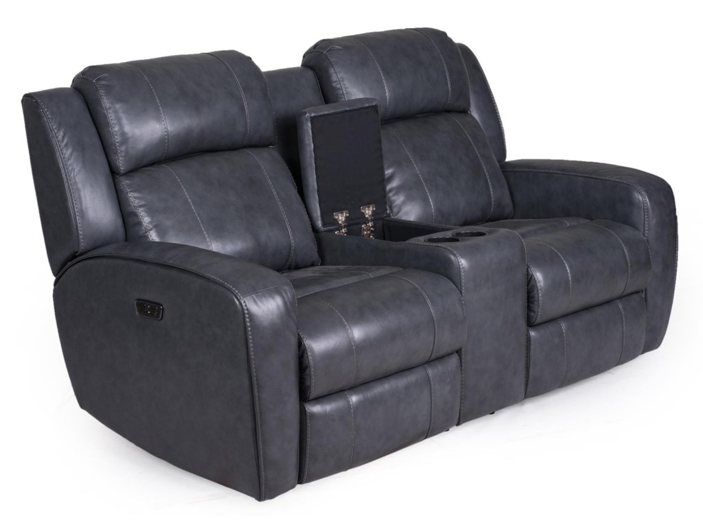 Synergy Home Furnishings 1638Loveseat Recliner - w/ Console, Pwr Headrest