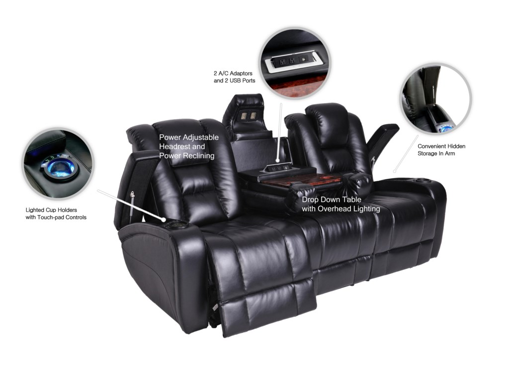 Synergy Home Furnishings Contemporary Power Reclining Sofa - Power recliner sofas
