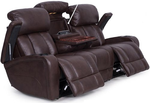 Synergy Home Furnishings 417 Casual Reclining Sofa With Storage And Cup Holders