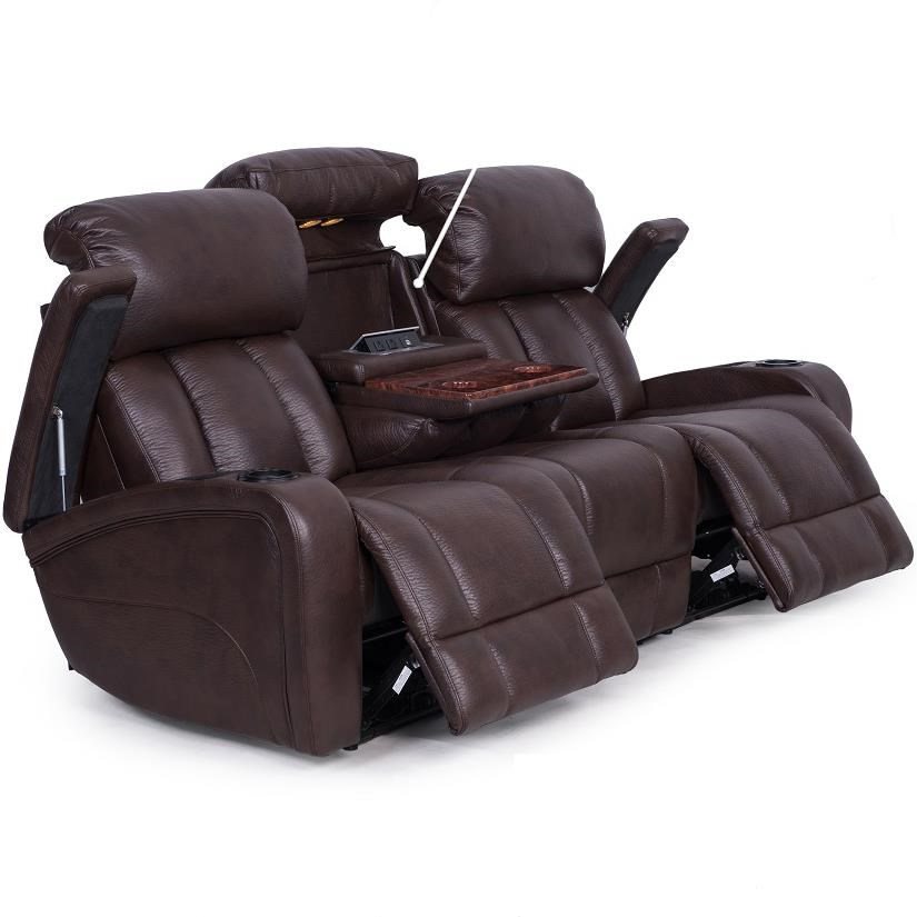 Synergy Home Furnishings 417 Casual Power Reclining Sofa With Storage And Cup  Holders