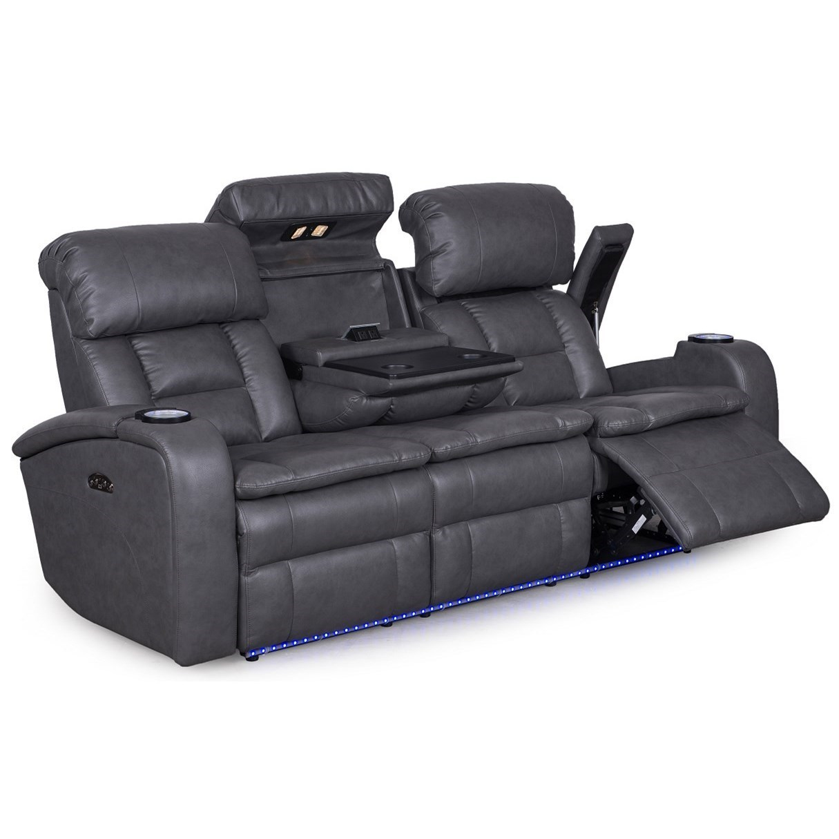 Synergy Home Furnishings 467 Casual Power Reclining Sofa With Drop Down  Table And Theater Lighting