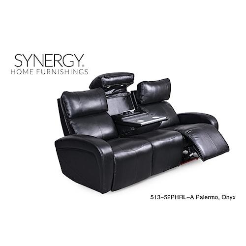 Synergy Home Furnishings 513 Black Reclining Sofa