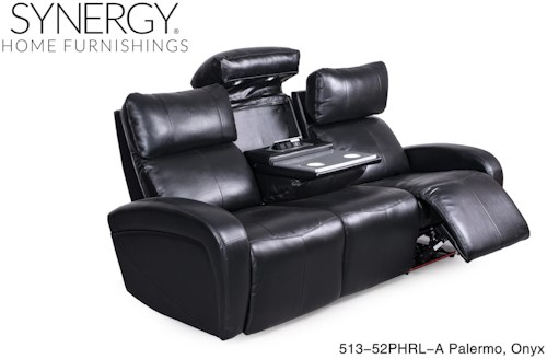 Synergy Home Furnishings 513 Black Reclining Sofa