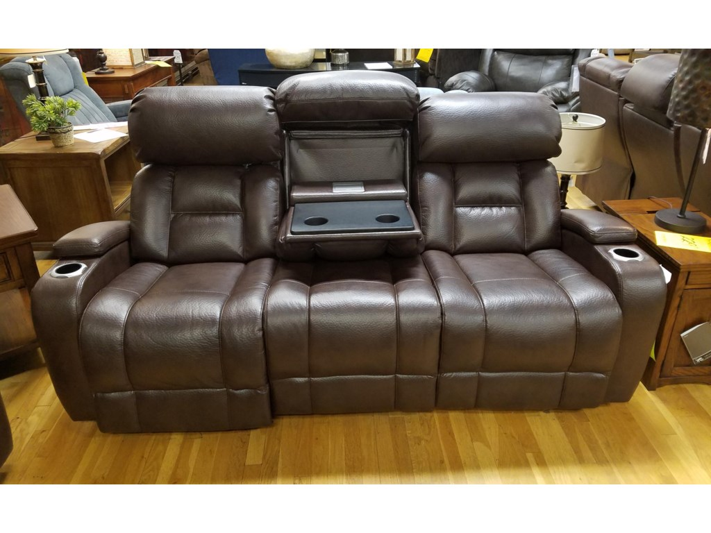 Synergy Home Furnishings 540Power Rec. Sofa w/ Tray and Power Headrest