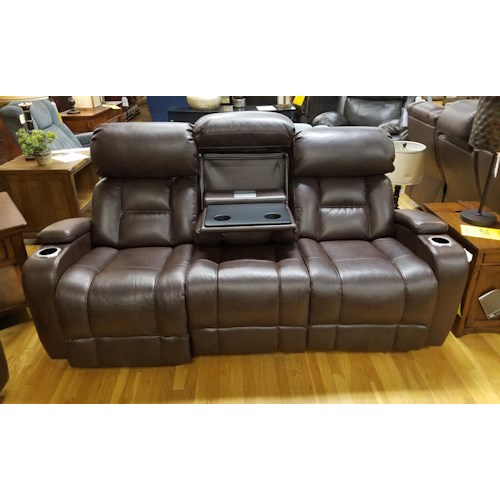 Synergy Home Furnishings 540 Power Reclining Sofa with Drop Down Tray and Power Headrest in Barron Saddle