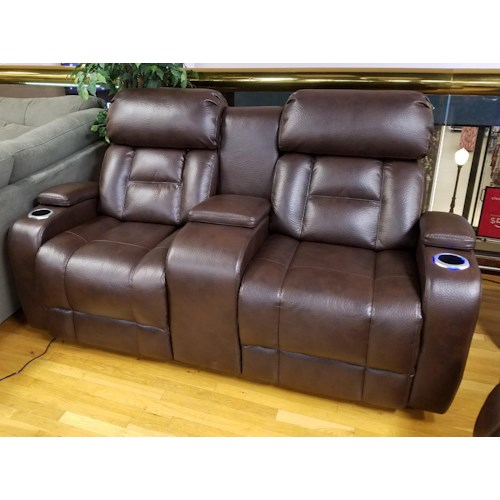 Synergy Home Furnishings 540 Power Reclining Console Loveseat with Power Headrest in Barron Saddle