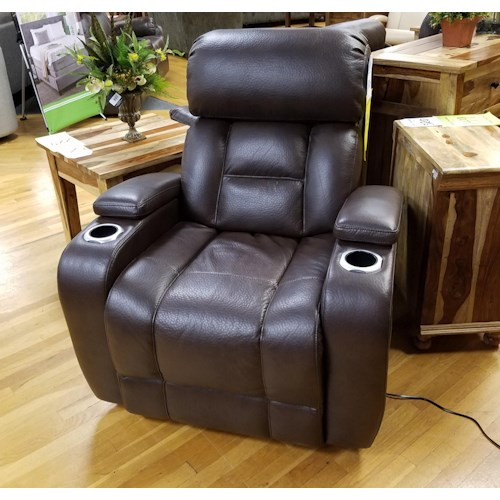 Synergy Home Furnishings 540 Power Space Saver Recliner with Power Headrest in Barron Saddle