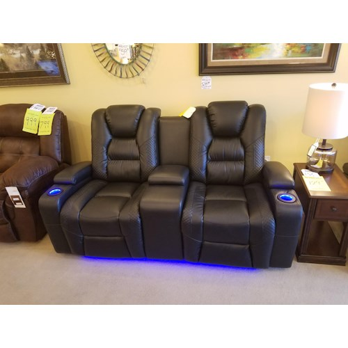Synergy Home Furnishings 549 Power Reclining, Power Headrest Console Loveseat in Larue Prospect Midnight