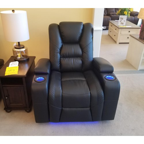 Synergy Home Furnishings 549 Power Wallsaver Recliner with Power Headrest in Larue Prospect Midnight