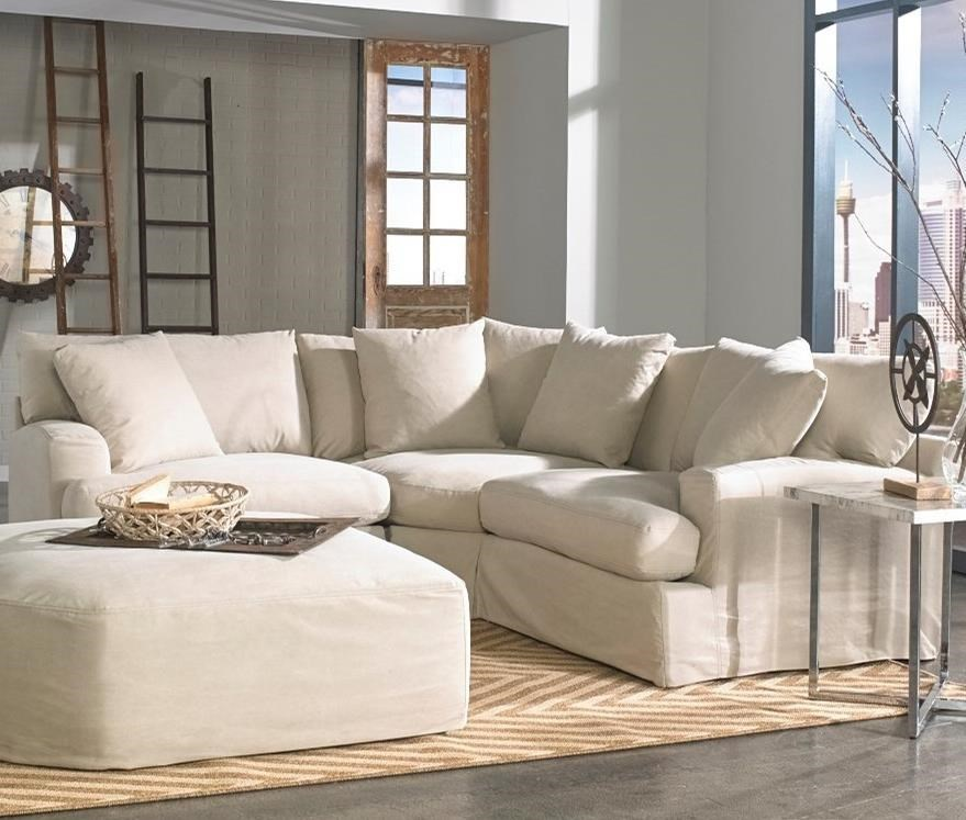 Synergy Home Furnishings Rachel 3 Piece Small Scale Slipcover Sectional