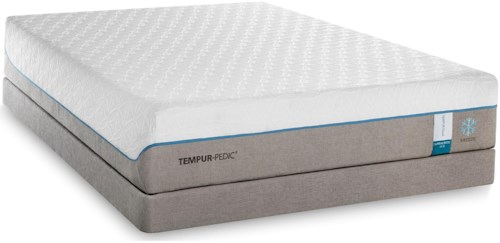 Tempur-Pedic® TEMPUR-Cloud Supreme Breeze 2 King Soft Mattress and Grey High Profile Foundation