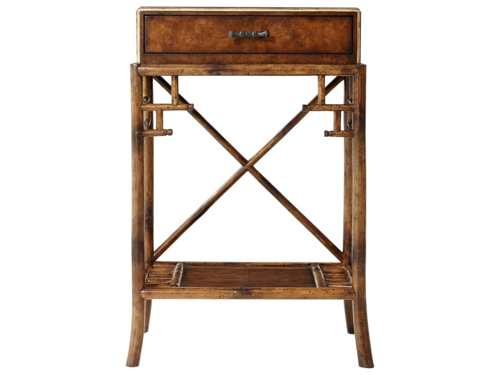 Theodore Alexander IndochineGilt Burl Accents Lamp Table