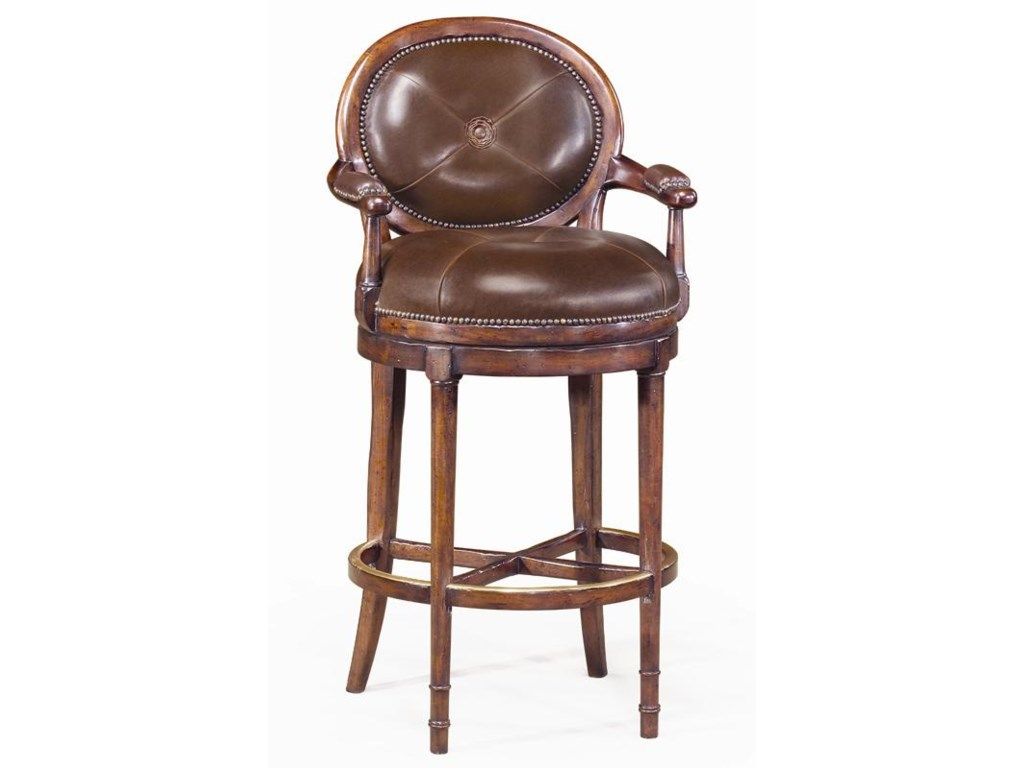 Theodore Alexander SeatingLeather Oval Back Barolo Bar Chair