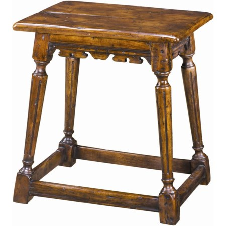 Antiqued Wood Joynt Stool