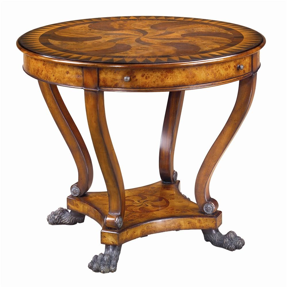 Beau Theodore Alexander TablesRound Marquetry Inlaid End Table