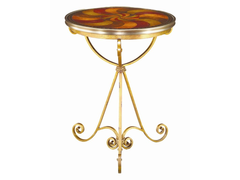 Theodore Alexander TablesRound Swirled Leather End Table