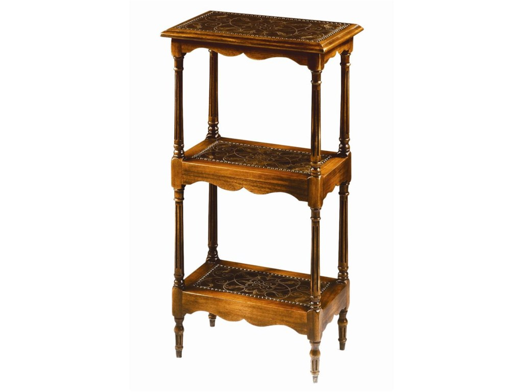 Theodore Alexander Tables3 Tier Walnut and Brass End Table
