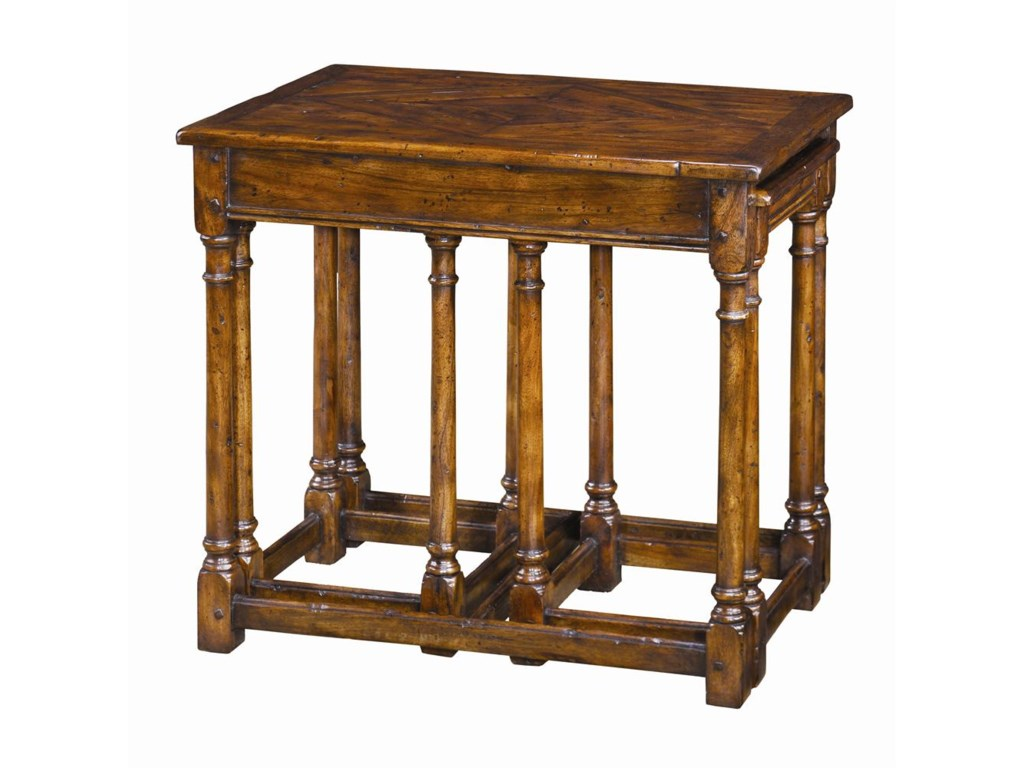 Theodore Alexander Tables3 Antiqued Wood Parquetry Tables